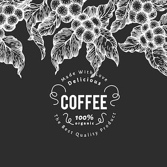 Modello di disegno del caffè disegnato a mano. illustrazioni di piante di caffè di vettore sul bordo di gesso. sfondo di caffè naturale vintage