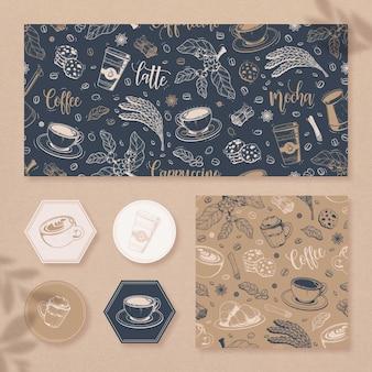 Accumulazione disegnata a mano del modello dell'elemento del caffè