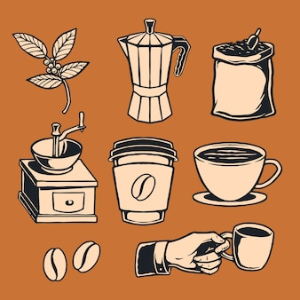 Elemento caffè disegnato a mano