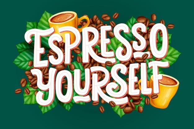 Lettering citazione caffè disegnato a mano