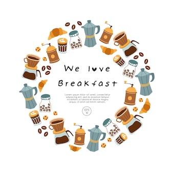 Caffè, dolci e pasticceria disegnati a mano