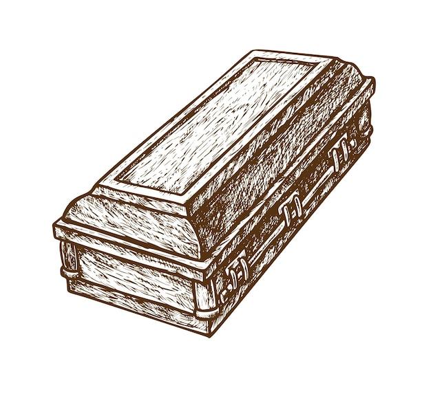 Oggetto funerario schizzo bara disegnato a mano isolato su bianco