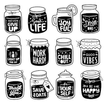 Collezione disegnata a mano: citazione positiva sul barattolo doodle