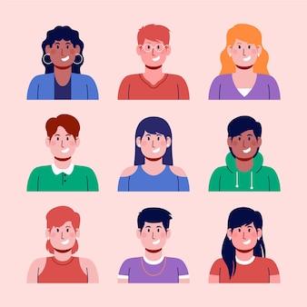 Collezione disegnata a mano di icone del profilo per uomini e donne