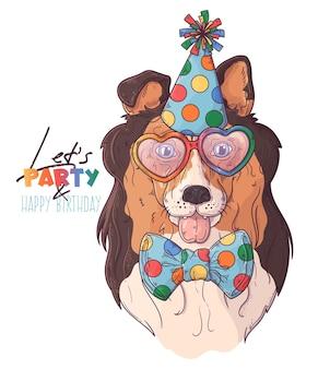 Ritratto di cane pagliaccio collie disegnato a mano con accessori