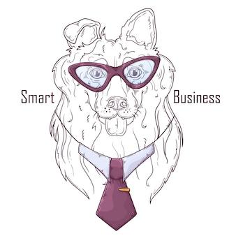 Cane collie disegnato a mano in cravatta
