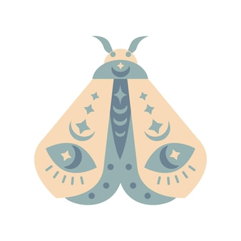 Falena di colore disegnato a mano isolato su priorità bassa bianca. illustrazione di vettore della farfalla di boho. simboli misteriosi. design per compleanni, feste, stampe di abbigliamento, biglietti di auguri.