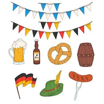 Barile colorato disegnato a mano, vetro, bottiglia, pretzel, ghirlanda di bandiera, salsiccia, bandiera tedesca nello stile di abbozzo.