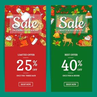 Elementi di natale colorati disegnati a mano con modelli di banner di vendita di babbo natale, albero di natale, regali e campane con posto per l'illustrazione del testo