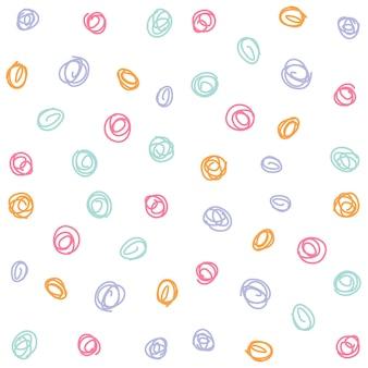 Reticolo senza giunte dei cerchi colorati disegnati a mano, fondo senza cuciture del modello del cerchio sveglio