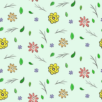 Modello senza cuciture floreale colorato disegnato a mano
