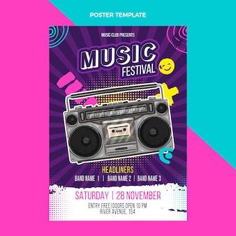 Manifesto del festival musicale colorato disegnato a mano