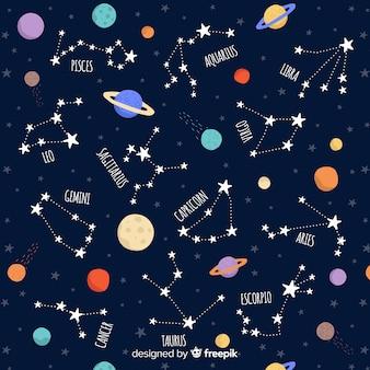 Modello zodiacale colorato disegnato a mano Vettore Premium