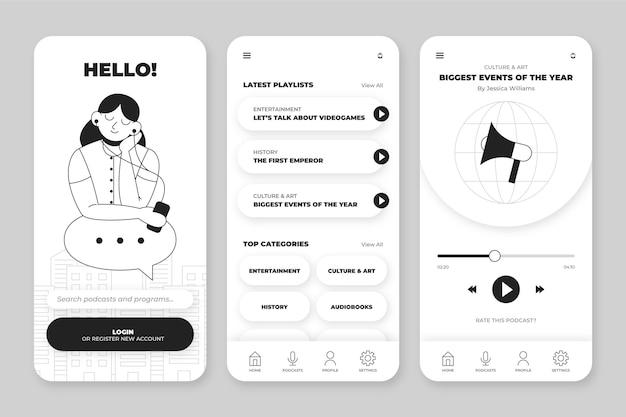 Raccolta di app incolori disegnate a mano per smartphone