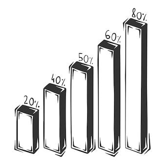 Disegnato a mano di infografica colonna, isolato su sfondo bianco.