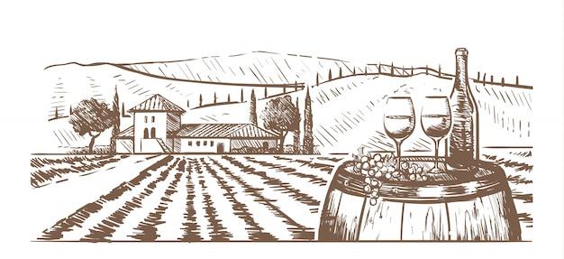 Composizione disegnata a mano, bicchieri, una bottiglia di vino e uva su una botte contro un paesaggio rurale