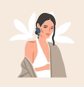 Illustrazione di moda estetica contemporanea disegnata a mano con bohémien, bellissimo ritratto femminile moderno