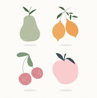 Disegnato a mano contemporaneo, frutti alla moda stampa collage colore