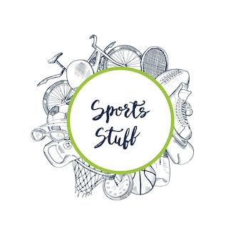 Attrezzature sportive sagomate disegnate a mano intorno al cerchio