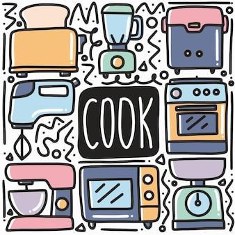 Illustrazione disegnata a mano dell'elemento di disegno di arte di doodle dell'attrezzatura del cuoco