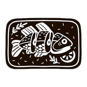 Pesce cotto disegnato a mano con illustrazione di limone. frutti di mare