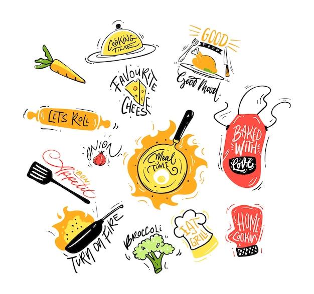 Set di illustrazioni di lettere di cucina disegnate a mano