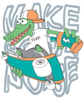 Disegno vettoriale disegnato a mano coccodrillo freddo per la stampa t-shirt