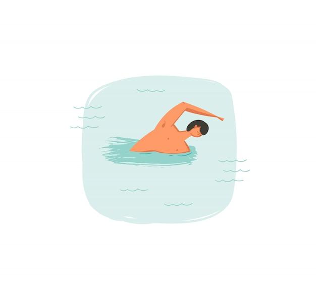 Icona disegnata a mano delle illustrazioni di divertimento di ora legale del coon con il ragazzo di nuoto nelle onde dell'oceano blu su fondo bianco