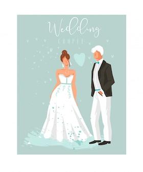 Elemento disegnato a mano delle illustrazioni delle coppie di nozze del coon messo su fondo blu.