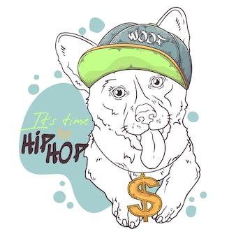 Ritratto di rapper cane corgi disegnato a mano con accessori