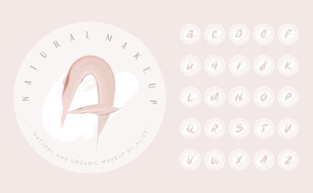 Lettere di crema cosmetica disegnate a mano per il design del logo della firma femminile