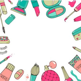 Cosmetici disegnati a mano compongono sfondo cornice strumenti