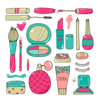 I cosmetici disegnati a mano compongono l'illustrazione degli strumenti stile variopinto del fumetto isolato