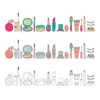 I cosmetici disegnati a mano compongono l'uso orizzontale dell'illustrazione dell'illustrazione degli strumenti per il fondo del sito web dell'insegna