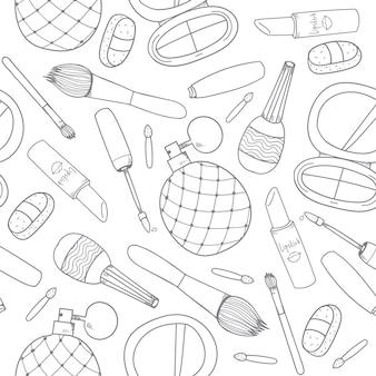Cosmetici disegnati a mano compongono strumenti outline seamless pattern
