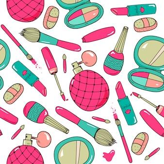 Cosmetici disegnati a mano compongono strumenti modello senza cuciture