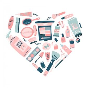 Set di cosmetici disegnati a mano trucco professionale a forma di cuore. illustrazione decorativa in stile piatto alla moda per il web design o la stampa.