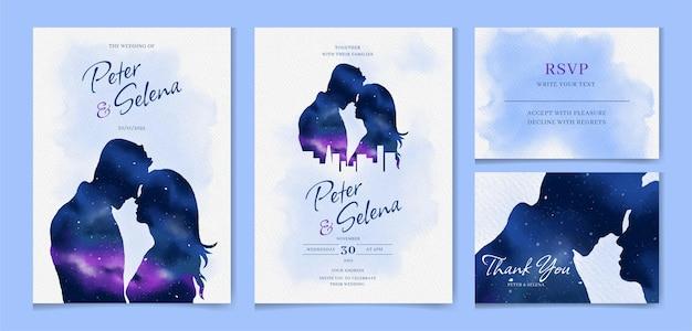 Galassia cosmica disegnata a mano e un set di inviti per matrimonio ad acquerello di una coppia di innamorati
