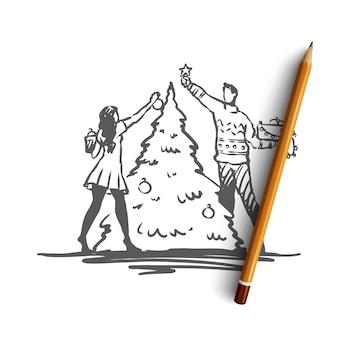 Coppia disegnata a mano che decora un albero