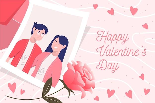 Fondo disegnato a mano di san valentino delle coppie Vettore Premium
