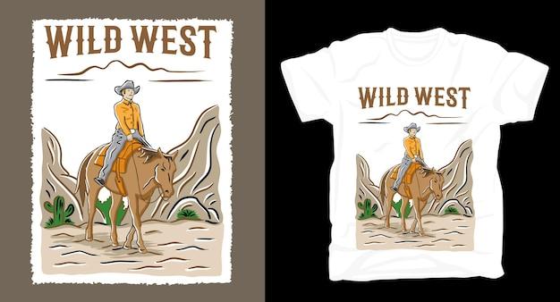 Illustrazione disegnata a mano del cowboy con il design della maglietta tipografica