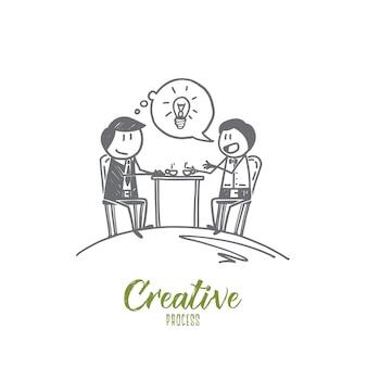 Schizzo di concetto di processo creativo disegnato a mano
