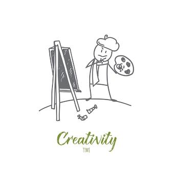 Illustrazione disegnata a mano di schizzo di concetto di tempo di creatività