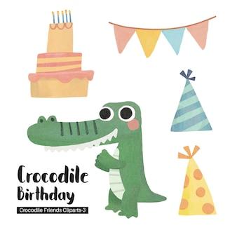 Insieme di buon compleanno coccodrillo disegnato a mano