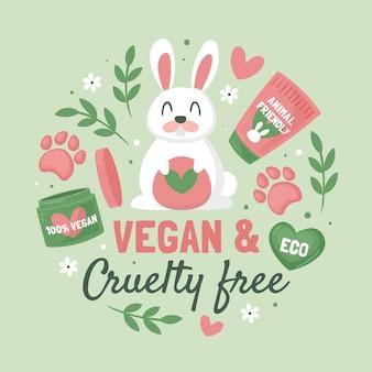 Illustrazione di concetto cruelty free e vegan disegnata a mano