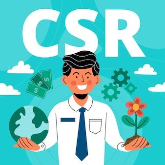 Illustrazione disegnata a mano di concetto di csr
