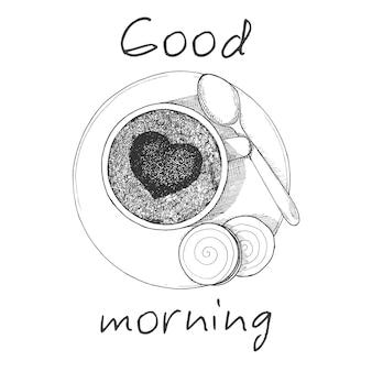 Tazza di caffè disegnata a mano la vista dall'alto. tazza, due biscotti e un cucchiaio sul piattino. iscrizione buongiorno. illustrazione vettoriale di uno stile di schizzo.