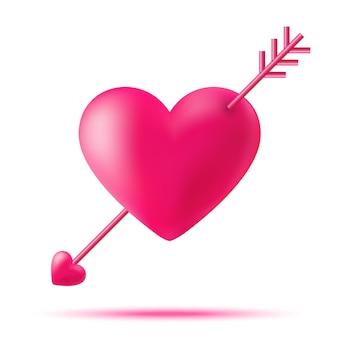 Cuore di cupido disegnato a mano con una freccia per il giorno di san valentino