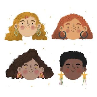 Illustrazione di tipi di capelli ricci disegnati a mano