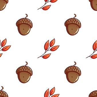 Ghiande disegnate a mano carino e foglie di autunno sfondo seamless pattern